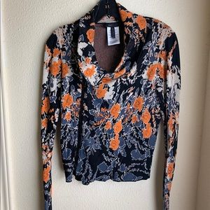 BCBG zip up sweater orange-multi